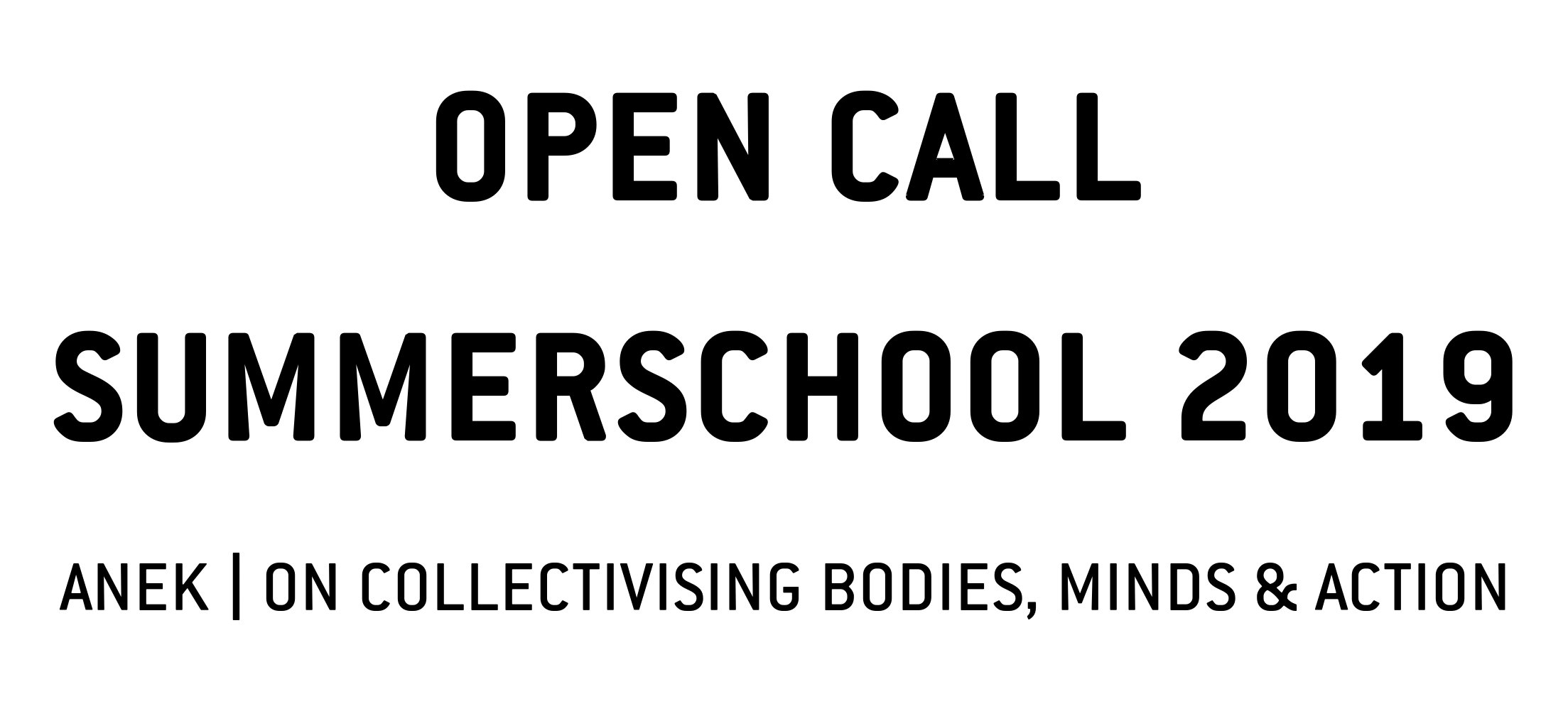 Open Call: Sommerschool 2019, ANEK | ON COLLECTIVISING BODIES, MINDS AND ACTION